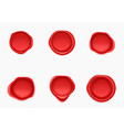 red wax seals set for letter and envelope vector image