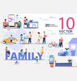 relatives happy family life flat scenes set vector image vector image