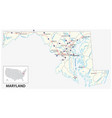 road map us american state maryland vector image vector image