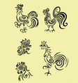 rooster set vector image vector image