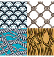 seamless patterns rope woven set abstract vector image vector image