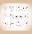 set 12 funny doodle zodiac icons in vintage vector image