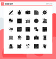 set 25 solid glyphs on grid for risk flame vector image vector image