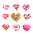 set heart and love labels and icons vector image vector image