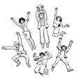 set of business people men and women jumping for vector image
