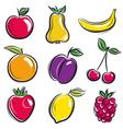 set of fruits fruit applepear banana orange plum vector image vector image