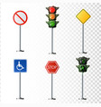 set of road signs isolated on vector image vector image