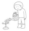 set of watering by watering can vector image vector image