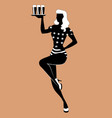 silhouette of pinup girl carrying a tray with vector image