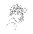 single continuous line drawing pretty woman face vector image
