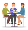 smiling male friends drinking beer in pub vector image