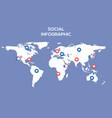 social media map internet community vector image vector image