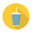 Soda with straw flat icon vector image vector image