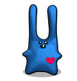 soft toy in the form of a blue rabbit with long vector image
