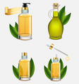 tea tree oil bottle set realistic vector image vector image