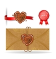Wax seal collection in heart shape vector image