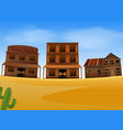 western town scene with wooden building vector image