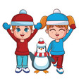 winter boy and girl with penguin vector image