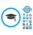 Graduation Cap Flat Icon with Bonus vector image