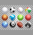 realistic sports balls big set isolated on vector image