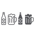 beer line and glyph icon bar and alcohol glass vector image vector image