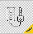black line car key with remote icon isolated on vector image vector image
