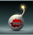 bomb with a wick and word sale black friday vector image vector image