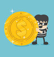 concept a thief with big coin stack design vector image vector image