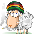 crazy jamaican sheep cartoon vector image