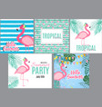cute pink flamingo summer collection set vector image vector image
