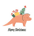 cute with cheerful triceratops fir tree and vector image vector image