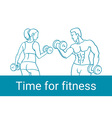 Fitness couple and fitness club concept with vector image