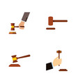 flat icon hammer set of law crime defense and vector image vector image