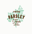 fresh parsley farm abstract sign symbol or vector image vector image