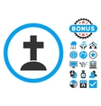Grave Flat Icon with Bonus vector image vector image