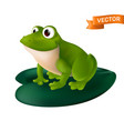 green cartoon frog with big eyes sitting on a vector image vector image