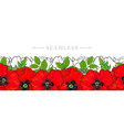 hand drawn red poppy seamless pattern frame vector image vector image