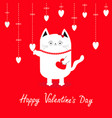 happy valentines day white cat hanging white vector image