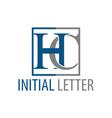 initial letter hc ch logo concept design symbol vector image vector image