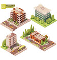 isometric buildings and street elements vector image vector image