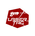 laser tag game logo with playing gun silhouette vector image vector image