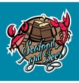 Logo seafood and beer lettering Crayfish and crab vector image vector image