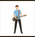 male characters play on electric or bass guitar vector image vector image