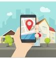 Mobile city map location smartphone gps navigator vector image vector image