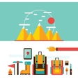 Mountain hiking and climbing Camping Travel vector image vector image