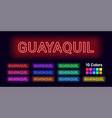 neon name of guayaquil city vector image vector image