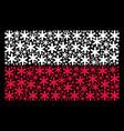 poland flag mosaic of snowflake items vector image