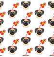 pug in christmas hat seamless pattern vector image vector image
