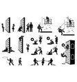 romance and love stick figure pictograph icons vector image
