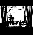 scary house and cemetery in the dark woods vector image vector image